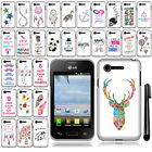 For LG Optimus Zone 2 Fuel VS415PP L34C Design SILICONE Rubber Case Cover + Pen