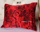 Red Rose Floral Prints Silk Pillowcase Silk Charmeuse Pillow Case
