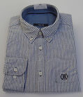 Ex M&S New Men Long Sleeve Shirt Oxford Weave Cotton Slim Fit Striped  Size 15