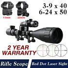3-9x40 6-24x50 Air Gun Rifle scope /11mm 20mm Rail Mounts / Red Dot Laser Sight