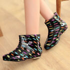 Kids Sweety Womens Girls Rain Ankle Boots Zebra Colorful Dot Pull On Shoes UK3-6
