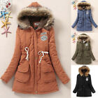 New Womens Slim Long Hooded Hoodies Collar Down Coat Jacket Outerwear Overcoat