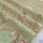 per 1/2 metre/FQ GREEN vintage floral dressmaking/craft fabric 100% COTTON