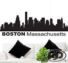 """Wall Decal Sticker Boston Skyline 22"""" Tall 61"""" Wide in White or Black"""