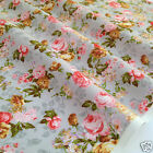 per 1/2 metre/FQ SILVER vintage floral dressmaking/craft fabric 100% COTTON