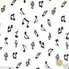 per 1/2 metre/FQ  White/black musical notes dressmaking/craft fabric 100% COTTON