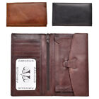 Mens Genuine Cow Calf Leather Long Jacket Wallet by Lorenz (Black, Brown)