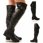 LADIES WOMENS OVER THE KNEE BOOTS FLAT BLACK FAUX LEATHER ZIP UP SHOES SIZE