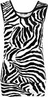 New Womens Zebra Black White Short Animal Print Vest Ladies Sleeveless Top 8-14
