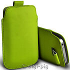 GREEN (PU) LEATHER PULL TAB POUCH CASE FOR MAIN RANGE OF MOBILE PHONES