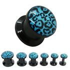 FLESH TUNNEL PLUG ACRILICO NERO LEOPARDATO 2 3 4 5 6 8 10 oppure SET TAPER BLU