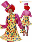 Size 8-22 Adult Ladies Circus Clown Costume Funny Comic Relief Women Fancy Dress