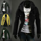 A Mens Casual Solid Design Luxury Style Double Layer Collar Coats Jackets 2014
