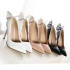 sto Women OL Office Lady Butterfly Solid Color Pointed Tip Noble Shoes High Heel