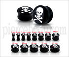 Double Flared  Internal Threaded Skull Logo Ear Plug FS