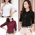 Women Cotton Long Sleeve OL Business Plaids T Shirt Top Blouse Black White