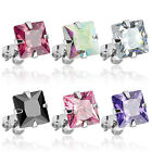 Pair of 316L Surgical Steel Colors Square Princess Cut CZ Stud Earring 3mm -10mm