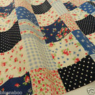 per 1/2 metre/FQ Dark blue patchwork effect dressmaking/craft fabric 100% COTTON