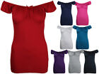 New Womens Off Shoulder Ribbon Boho T-Shirt Tops Ladies Bow Gypsy Top Size 8-14
