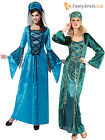 Ladies Medieval Fancy Dress Costume Womens Tudor Queen Historical Outfit 10-14