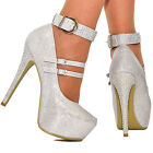 Womens Silver Metalic Platform High Heels Diamante Ankle Strap Buckle Shoes Size