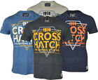 Mens Crosshatch T-shirt 'Slink' Logo Crew Neck Cotton Printed
