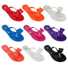 Women Summer Jelly Ribbon Bow Flip Flops Thong Flat Sandals Slipper Shoes New