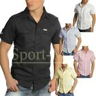 Mens Soulstar Short Sleeve Slim Fit Casual Ramie Cotton Shirt Size