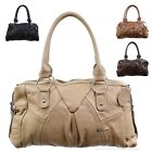 Ladies Large Leather Shoulder Bag with Detachable Strap. Black, Brown, Tan, Fawn