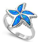 925 Sterling Silver Sea Starfish Inlay Blue Lab Opal Love Promise Ring Size 3-11