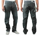 MENS NEW JEANS EZ126 DARK BLUE COATED STRAIGHT FIT SIZES 28 TO 40 RRP £34.99