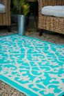 Fab Habitat In / Outdoor Rug Venice Turquoise Cream Damask Scroll, Choose Size