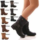 LADIES WOMENS BIKER BOOTS FLAT LOW HEEL BUCKLE STUDDED ANKLE FASHION SHOES SIZE
