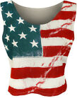 New Womens Stars Stripes Flag Print USA Ladies Sleeveless Vest Cropped Top 8-14