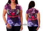 T154 RHINESTONE HEART WINGS SUBLIMATION T- SHIRT WOMENS SIZE S M L