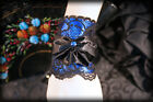 Gothic Burlesque Pin Up Lolita BLUE Satin & Black Lace Corsage Cuff Bracelet