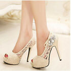 2015 SS Platform High Heels Peep Toe Lace Pink/Beige Pumps Party Wedding Shoes