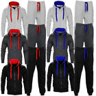 Mens Contrast Cord Squad Fleece Warm Up Hooded Full Zip Jogging Tracksuit Size