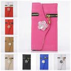 Leather Zipper Wallet Card Holder Flip Camellia Case Cover for iPhone 5 5G 5S