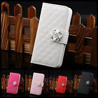 Luxury Leather Crystal Camellia Wallet Flip Stand Case Cover for iPhone 5 5G