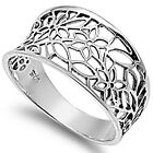 New 925 Sterling Silver Open Cut Flower Floral Vintage Style Band Ring Size 3-11