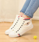 Women Stylish High Top Lace Up Flat Heels Canvas Shoes Spring Sneakers Free P&P