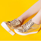 Hot Spring Girl Womens air hole Wedge Heels Lace Up Sneakers Travel Casual Shoes