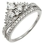 Sterling Silver Shiny Round Clear CZ Queen Princess Crown Tiara Ring Sizes 3-11