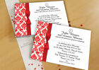 RED & WHITE DAMASK PERSONALISED WEDDING AND/OR EVENING INVITATIONS