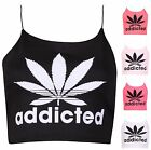 Womens Addicted Leaf Print Ladies Stretch Lined Strappy Crop Vest T-Shirt Top