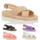 WOMENS LADIES FLAT CHUNKY CROSSOVER JELLY STRAPS BUCKLE SLINGBACK SANDALS SIZE