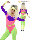Ladies 80s Sexy Neon Aerobic Fitness Instructor Fancy Dress 1980s Costume Lycra