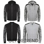 Mens Paisley Tattoo Printed Zipper Jacket Mens Quilted Hooded Zip Coat Top