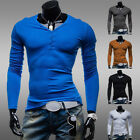 Stylish Mens Slim Fit Long Sleeve T-Shirts V Neck Casual Basic Tops Spring Tee